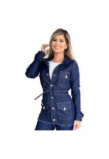 Parka Sobretudo Jaqueta Max Jeans Feminina Escura Azul