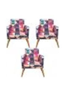Conjunto 3 Poltronas Decorativa Com Rodapé Nina Triângulos - Bela Casa Shop