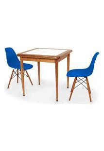 Conjunto Mesa De Jantar Em Madeira Imbuia Com Azulejo + 2 Cadeiras Eames Eiffel - Azul