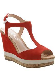 Sandália Plataforma Em Couro- Vermelha- Salto: 11Cmarezzo & Co.