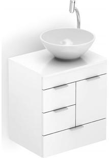 Gabinete Para Banheiro Em Mdf Com Cuba Redonda Basic 50X38Cm Branco