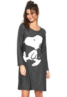 Camisola Snoopy Curta Estampada Cinza