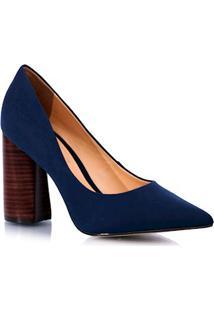 Sapato Salto Quadrado Bico Fino Azul