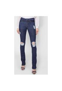 Calça Jeans Lança Perfume Bootcut Destroyed Azul
