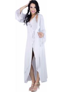 Robe Longo Estilo Sedutor De Luxo Em Liganete E Renda Branco