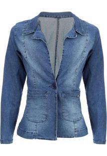 Blazer Jeans Tyn Feminino - Feminino-Azul