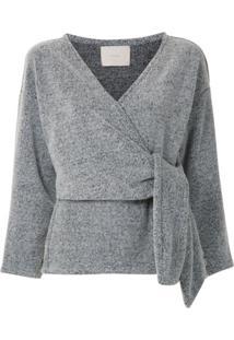 Framed Blusa Wool Mescla Transpassada - Cinza