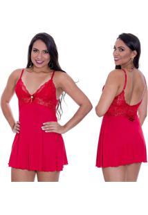 Camisola Sensual Estilo Sedutor De Luxo Em Liganete E Renda Vermelha