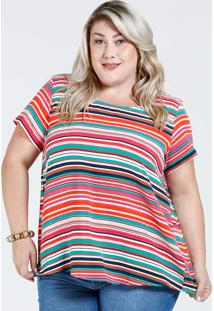 1281fea21 Ir para a loja  Blusa Feminina Listrada Fenda Plus Size Marisa