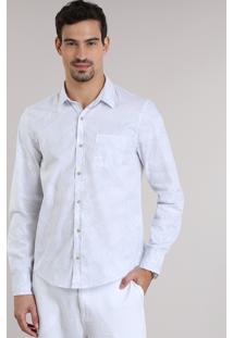Camisa Slim Estampada De Folhagem Branca