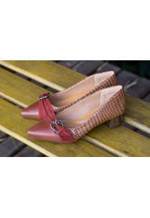 Sapato Cap Toe Dm Extra Couro Croco Marrom Dme175027 Numeração Especial 41, 42 E 43