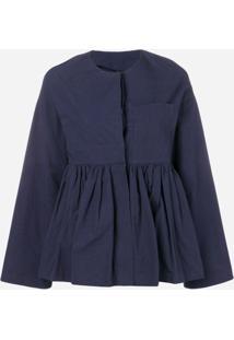 Sara Lanzi Jaqueta Slim De Peplum - Azul