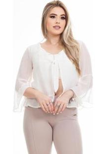 Blusa Clara Arruda Sobreposição Feminina - Feminino-Off White