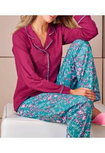 Pijama Longo Aberto Demillus Bali (285015) 100% Algodão