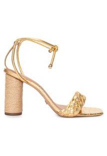 Sandália Feminina Tiras Trançadas - Dourado