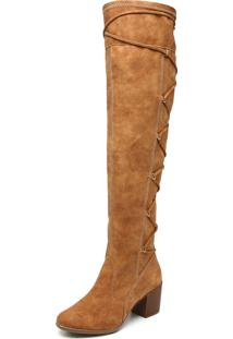 Bota Polo London Club Over Knee Fashion Caramelo