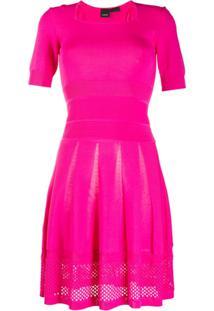 Pinko Vestido Mangas Curtas De Tricô - Rosa