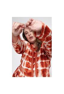 Blusa Almaria Plus Size Tal Qual Malha Capuz Vermelho