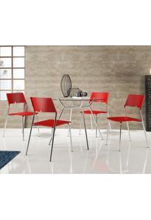 Mesa 1527 Com Vidro Incolor Cromada Com 4 Cadeiras 1711 Vermelha Carraro