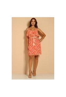 Vestido Alça Estampado Atelier Lily Daisy Ld027 Vermelho