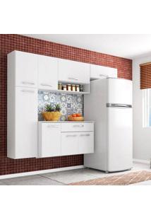 Cozinha Compacta Anita Branca Poquema - 4 Peças Paneleiro 2 Aéreo E Balção 8 Portas 1 Gaveta