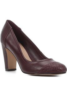 Scarpin Couro Shoestock Salto Alto Snake - Feminino-Vinho