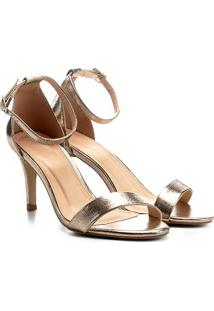 Sandália Couro Shoestock Salto Fino Feminina - Feminino-Dourado