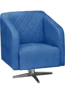 Poltrona Decorativa D'Rossi Silmara Suede Azul Royal Com Base Giratória Em Aço Cromado
