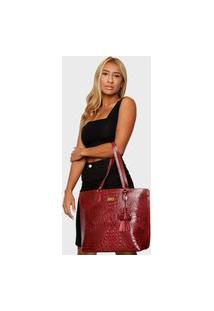 Bolsa Shopper Couro Mariart 5200Mrt Vermelha