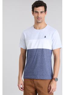 Camiseta Com Recortes Cinza Mescla Claro