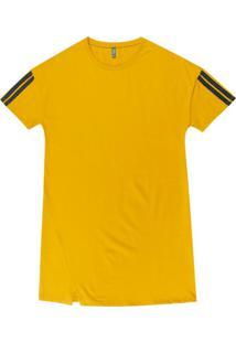 Vestido Manga Curta Em Meia Malha Amarelo