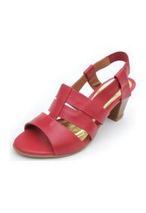 Sandália De Salto Em Couro Amora Calçados Viena Vermelha