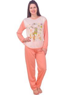 Pijama Vip Lingerie Inverno Longo Coral