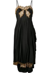 Giacobino Low Back Lace Slip Dress - Preto