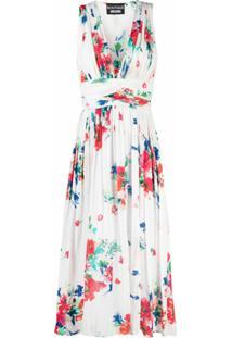 Boutique Moschino Vestido Midi De Algodão Com Estampa Floral - Branco
