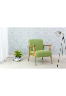 Poltrona Decorativa De Madeira Estofada - Poltrona Para Recepção Cor Verde - Verniz Amendoa \ Tec.942 Acacia - 72X72X75 Cm