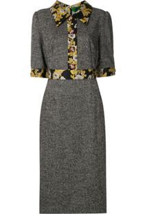 Dolce & Gabbana Vestido Reto Detalhes Florais Metalizados - Cinza