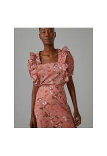 Amaro Feminino Blusa Babados Ombros E Frente, Magic Butterfly Pink