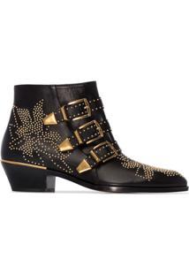 Chloé Ankle Boot Susanna 30 De Couro Com Tachas - Preto