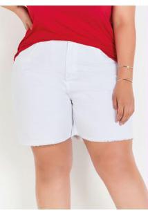 Bermuda Branca Plus Size Com Desfiados