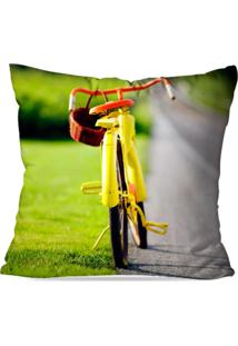 Capa De Almofada Avulsa Decorativa Bike Yellow 35X35Cm