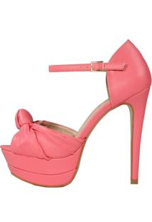 Sandália Salto Alto Week Shoes Meia Pata New Pele Nó Coral - Tricae