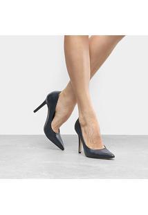 Scarpin Couro Shoestock Salto Alto Color - Feminino-Marinho