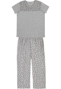 Pijama Feminino Em Malha De Algodão Com Calça E Detalhe Estampado Em Outros Tamanhos