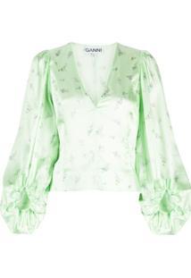Ganni Blusa Com Estampa Floral - Verde