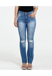 7913bdf01 Marisa. Calça Feminina Flare Jeans Destroyed Biotipo