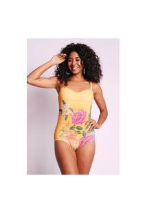 Body Estampado Sou Brasileira Amarelo