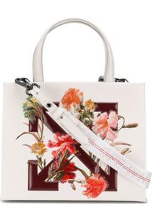 Off-White Bolsa Tote Com Estampa Floral - Branco