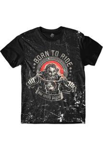 Camiseta Bsc Motoqueiros Nascido Para Andar Sublimada Preto