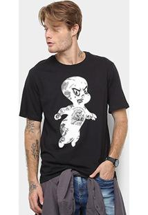 Camiseta Cavalera Estampa Gasparzinho Masculina - Masculino-Preto